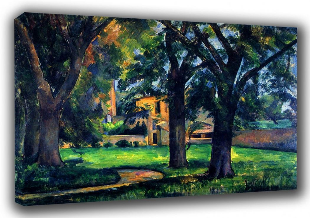 Cezanne, Paul: Chestnut Trees and Farm At Jas De Bouffan. Fine Art Landscape Canvas. Sizes: A3/A2/A1 (001021)
